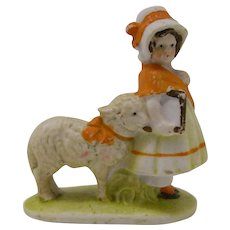 Vintage bisque snow baby type cake decoration Mary and her Little Lamb