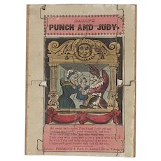 Antique circa 1850 Punch and Judy wooden jigsaw puzzle