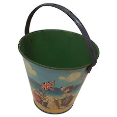 1940's child's Seaside sand pail anthropomorphic dogs Reliable Series