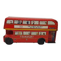 1960's Brimtoy tin-plate friction drive London Routemaster Bus toy