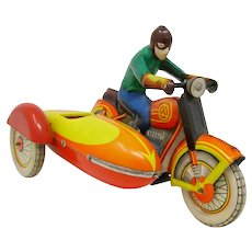 vintage Russian tin-plate  wind-up Motorcycle sidecar toy USSR CCCP