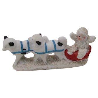 vintage bisque Snow Baby Huskies Sleigh cake decoration