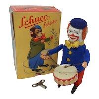 Vintage Wind-up Schuco Drummer Clown dancing figure boxed