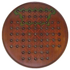 Antique mahogany 67 hole marble solitaire or siege game board