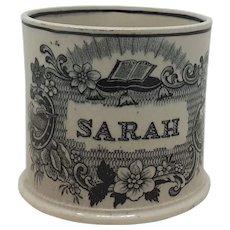 Antique English pottery child's name mug Sarah
