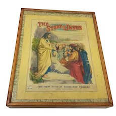 circa 1917  Sunday School wooden jigsaw puzzle The Story of Jesus wooden box
