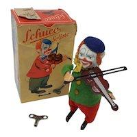 Vintage Wind-up Schuco Violinist  Clown dancing figure boxed