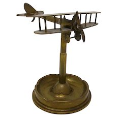 World War One Brass Trench Art Biplane airplane ashtray