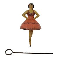 Tinplate Ballerina spinning top toy Einfalt Technofix German Pink