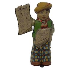 1930's German tin-plate clockwork toy  Newspaper Boy Tipp & Co