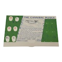 The Cannibal Puzzle vintage card river crossing puzzle