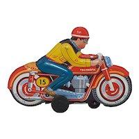 Circa 1960 Technofix friction drive tin toy Motorcycle