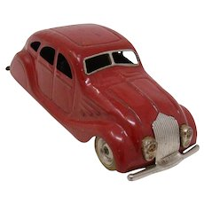Tri-ang Minic Chrysler Airflow Sedan wind-up tin toy car