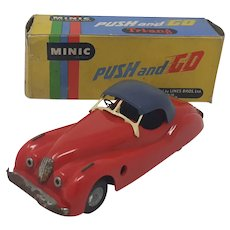 Tri-ang Minic Jaguar XK120 Push and Go friction drive toy car boxed