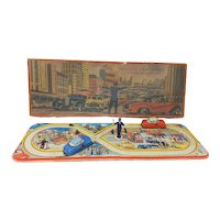 1950's Technofix Traffic Crossing with Police Control tin toy boxed