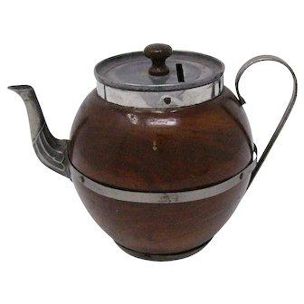1920's wood and metal Teapot still bank