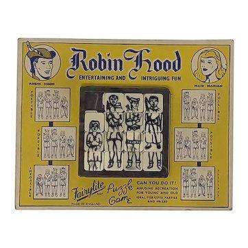 1950's Fairylite plastic tile slide puzzle Robin Hood carded