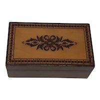 Antique Edmund Nye Tunbridge ware jewelry trinket box