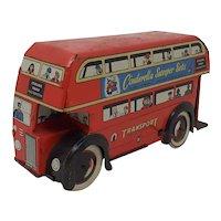 1950's tin-plate wind-up British toy Bus Wells Brimtoy
