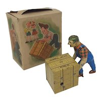 1950's Western Germany Wüco wind-up tin-plate Stevedore toy boxed