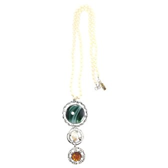 """(signed Re-stated by Trudelle Laker)Rhodium plated  triple pendant drop on 28"""" knotted imitation glass pearls"""