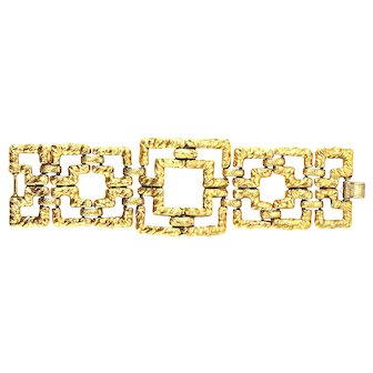 """(SIGNED Re-stated by Trudelle Laker) 50's style geometric gold plated hammered """"square"""" bracelet"""