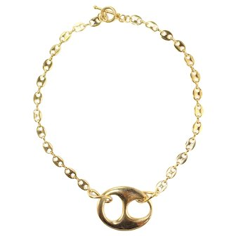 """Re-stated by Trudelle Laker (signed) gold plated """"Gucci"""" style necklace"""