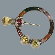 Bold Antique Scottish Agate  Pin