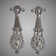 Rare and Dramatic Georgian Cut Steel Earrings