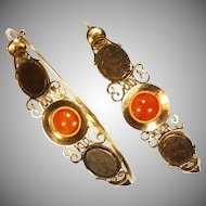 Antique French Gold Carnelian Georgian Earrings