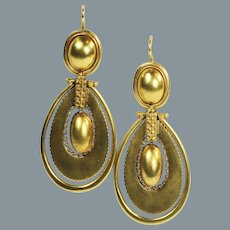 Timeless Victorian Antique Long Gold Earrings