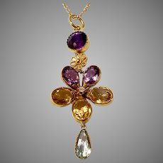 Antique Gold Harlequin Pansy Pendant