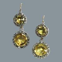 Shimmering Citrine and Diamond Georgian Earrings