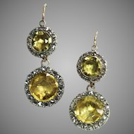 Shimmering Citrine and Diamond Georgian Earrings