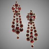 Grand Georgian Garnet Gold Earrings