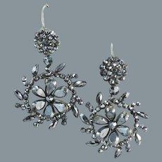 Glorious Antique Cut Steel Earrings Circa 1840