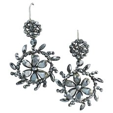 Glorious Antique Cut Steel Earrings Circa 1840