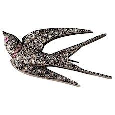 Enchanting Antique French Diamond Trembler Bird Pin