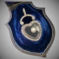 Extraordinary Antique Diamond Rock Crystal Heart Pendant