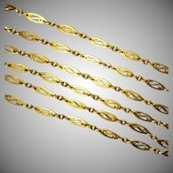 Luxurious Antique English 18 Karat Gold X Long Chain