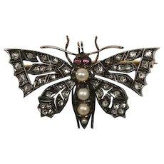 Antique English Diamond Butterfly Pin