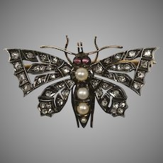 Antique English Diamond Butterfly Pin
