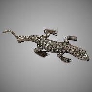 Antique Gold Diamond Lizard Pin