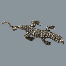 Antique Gold Diamond Lizard Pin