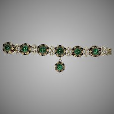 Fine Antique French Malachite Garnet Silver Bracelet