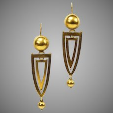 Antique Gold  Long Elegant Victorian Earrings