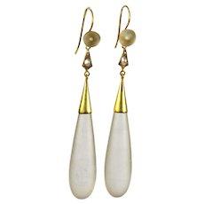 Antique Long Chalcedony Gold Earrings