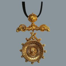 Remarkable Bold Archaeological Revival Gold Pendant/Brooch