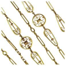Beautiful Antique French  Long  Chain 18 Karat Gold