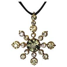 Antique Victorian Gold Gemstone Star Pendant